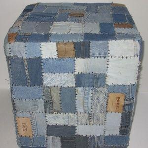 Denim Jeans Ottoman Patch Sofa Footstool